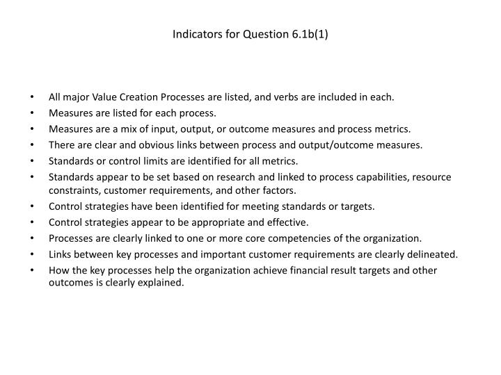 Indicators for Question 6.1b(1)