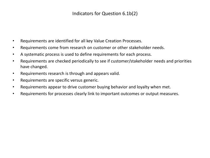 Indicators for Question 6.1b(2)