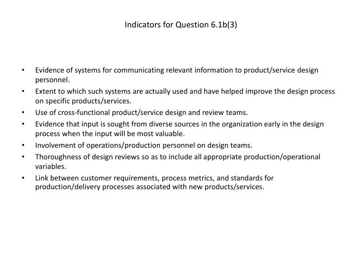 Indicators for Question 6.1b(3)