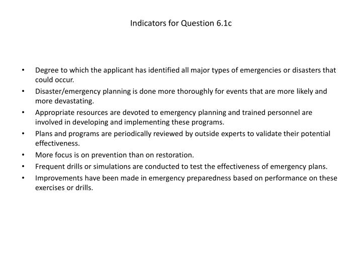 Indicators for Question 6.1c