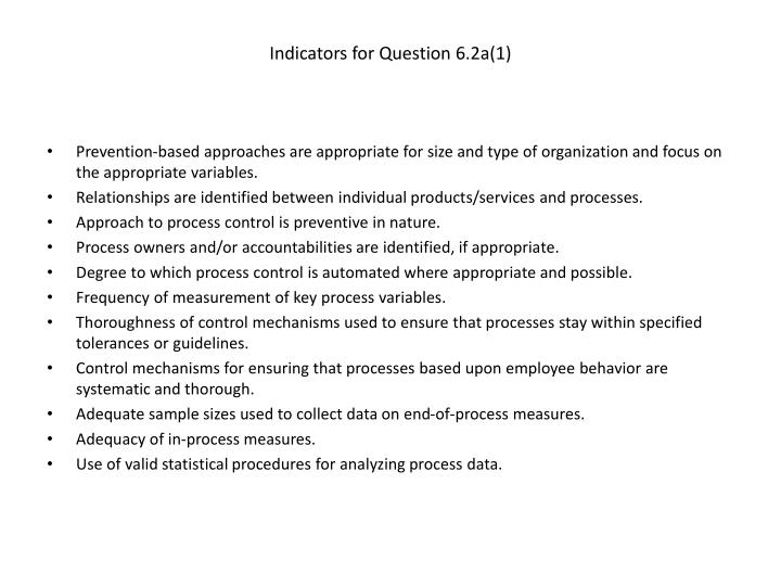 Indicators for Question 6.2a(1)