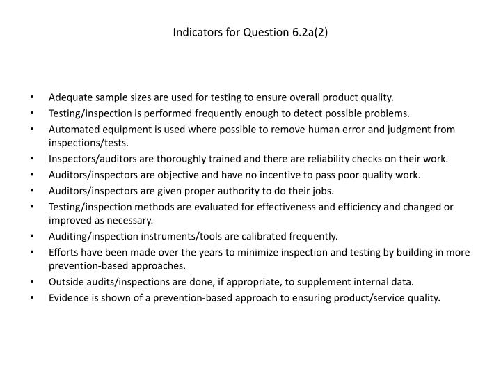 Indicators for Question 6.2a(2)