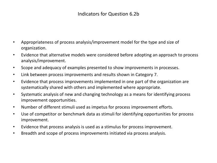 Indicators for Question 6.2b