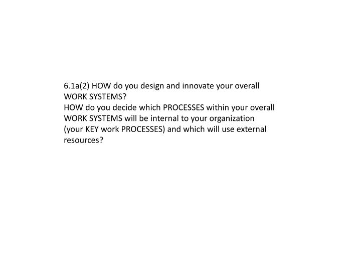 6.1a(2) HOW do you design and innovate your overall WORK SYSTEMS?