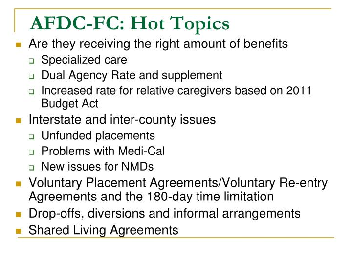 AFDC-FC: Hot Topics