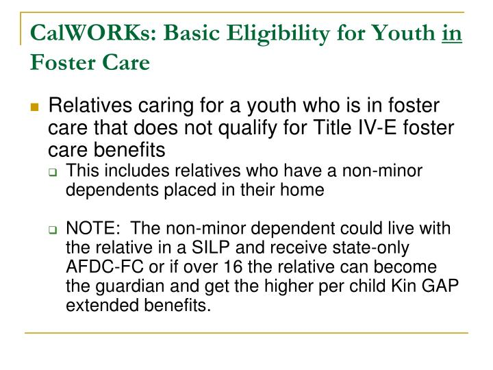 CalWORKs: Basic Eligibility for Youth