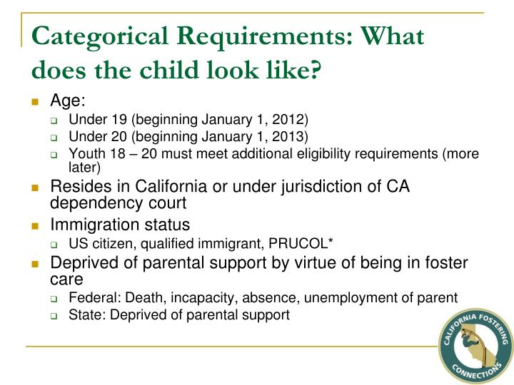 Categorical Requirements: What does the child look like?