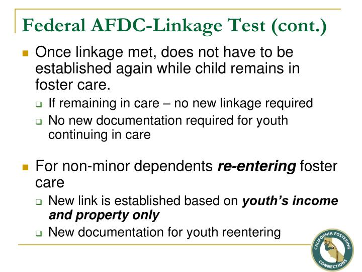 Federal AFDC-Linkage Test (cont.)