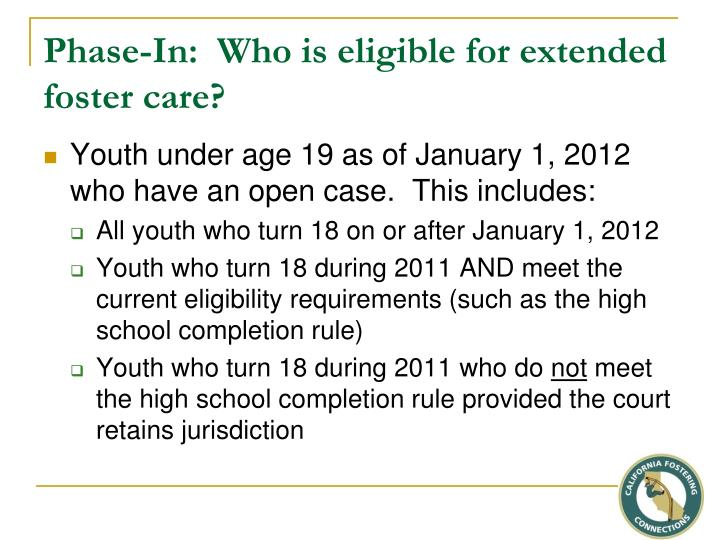 Phase-In:  Who is eligible for extended foster care?