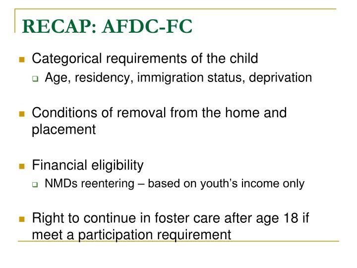 RECAP: AFDC-FC