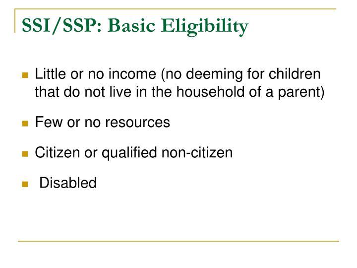 SSI/SSP: Basic Eligibility