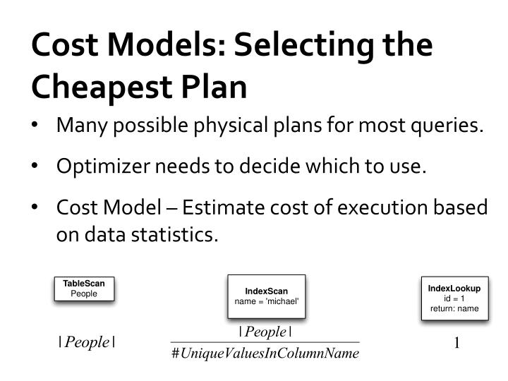 Cost Models: Selecting the Cheapest Plan