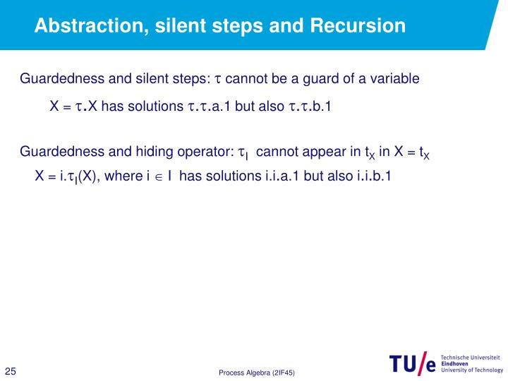 Abstraction, silent steps and Recursion
