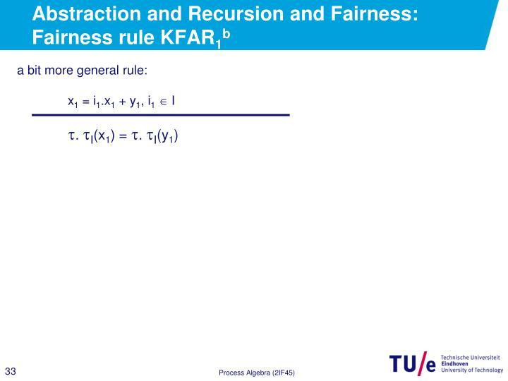 Abstraction and Recursion and Fairness: Fairness rule KFAR