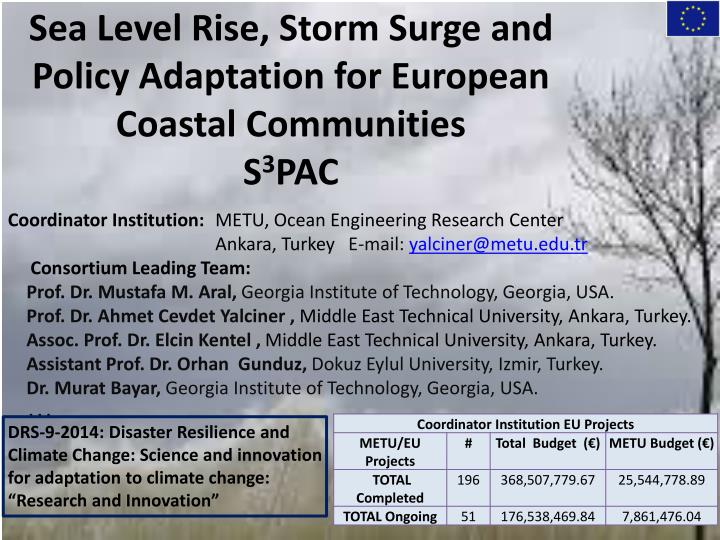 Sea level rise storm surge and policy adaptation for european coastal communities s 3 pac
