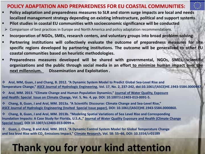 POLICY ADAPTATION AND PREPAREDNESS FOR EU COASTAL COMMUNITIES: