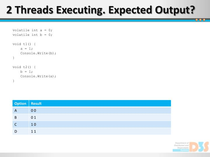 2 Threads Executing. Expected Output?