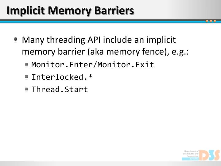 Implicit Memory Barriers