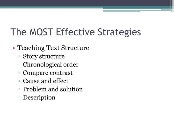 The MOST Effective Strategies