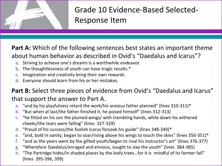Grade 10 Evidence-Based Selected-Response Item