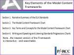 key elements of the model content frameworks