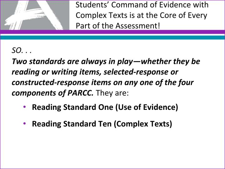 Students' Command of Evidence with Complex Texts is at the Core of Every Part of the Assessment!