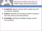 what are the shifts at the heart of parcc design and the standards