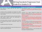 writing standards progression from grade 8 to grades 9 10