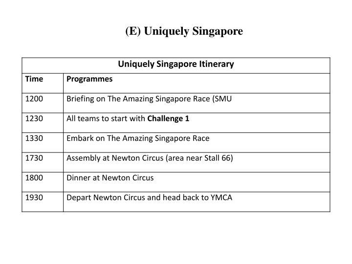 (E) Uniquely Singapore