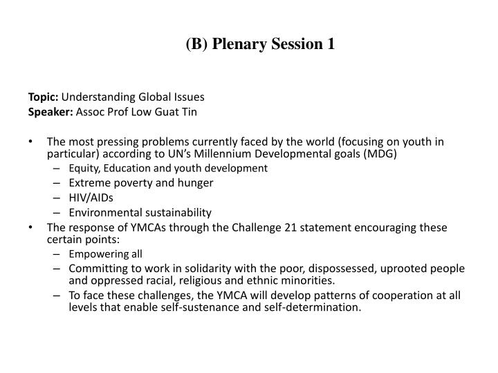 (B) Plenary Session 1