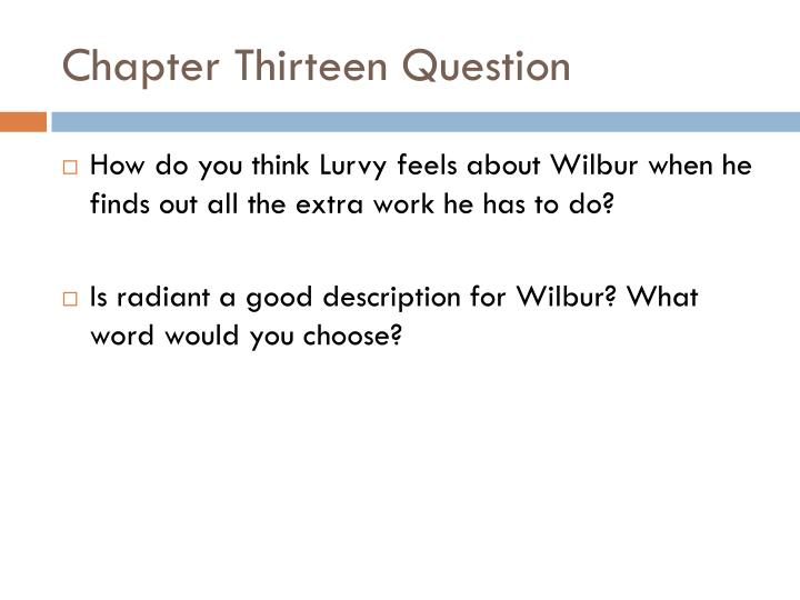 Chapter Thirteen Question