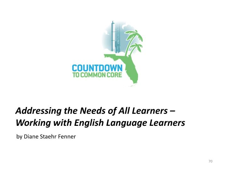 Addressing the Needs of All Learners – Working with English Language Learners
