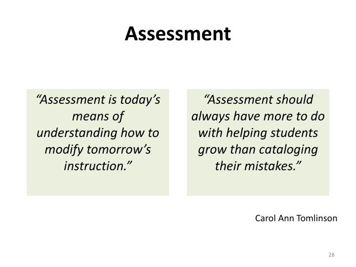 """Assessment is today's means of understanding how to modify tomorrow's instruction."""