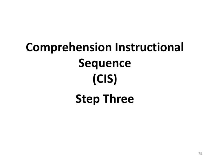 Comprehension Instructional Sequence