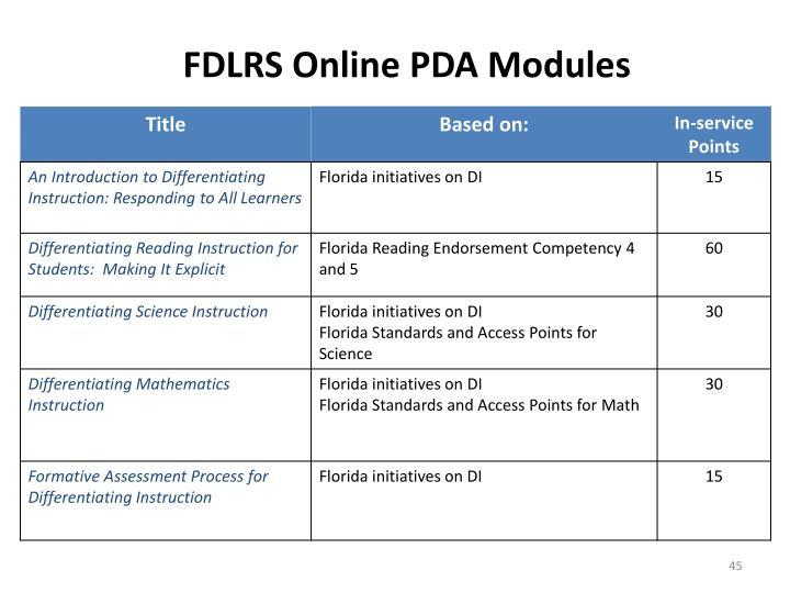 FDLRS Online PDA Modules