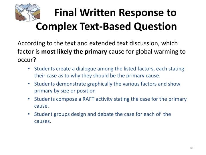 Final Written Response to   Complex Text-Based Question