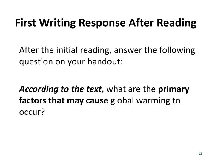 First Writing Response After Reading