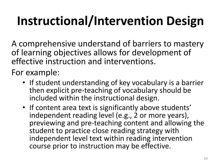 Instructional/Intervention Design