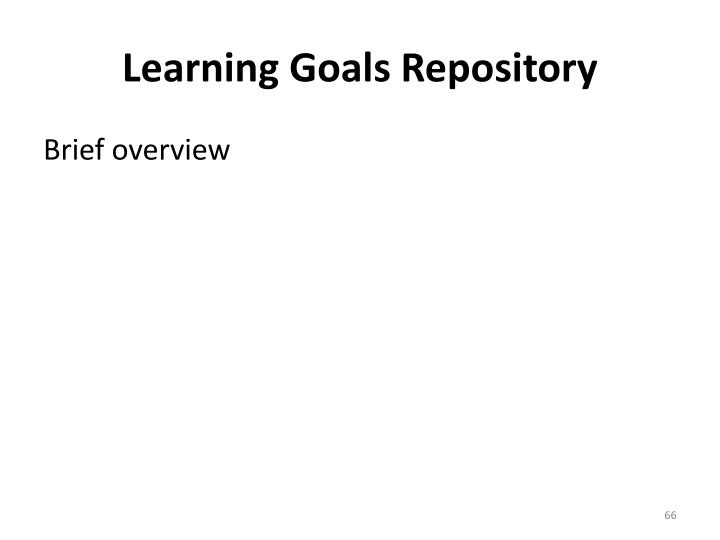 Learning Goals Repository