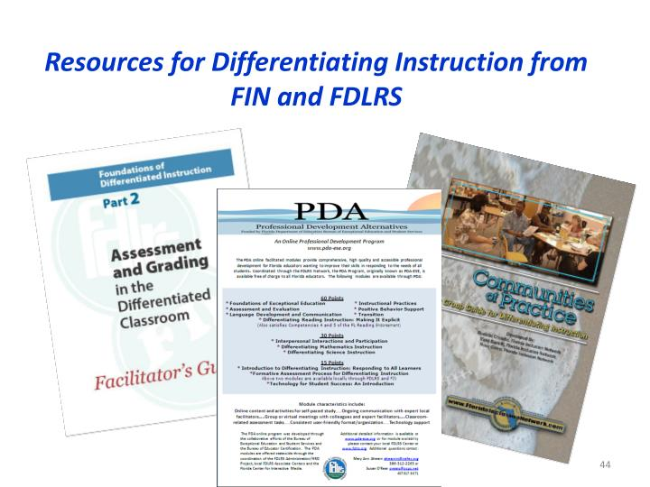 Resources for Differentiating Instruction from FIN and FDLRS
