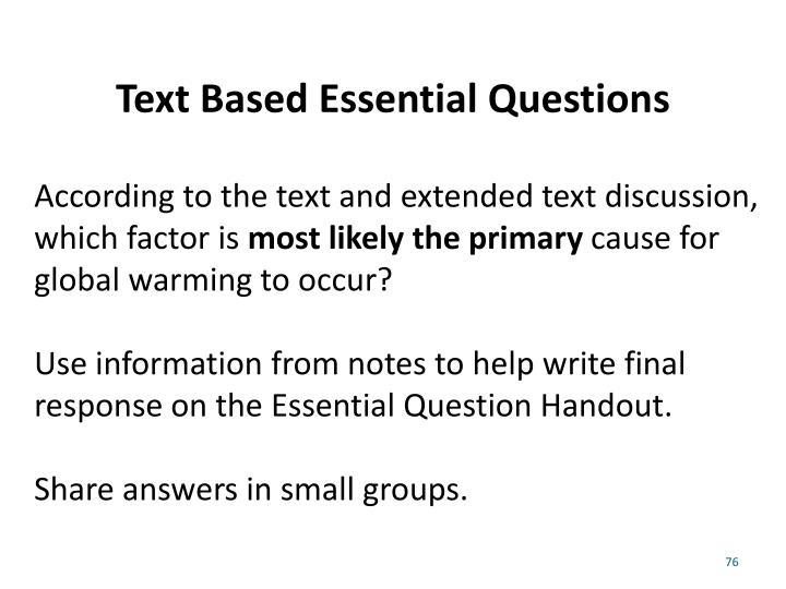 Text Based Essential Questions