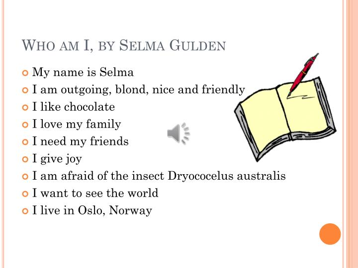 Who am I, by Selma Gulden