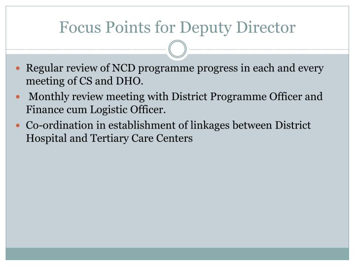 Focus Points for Deputy Director