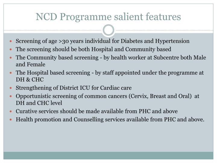 NCD Programme salient features