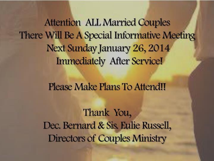 Attention  ALL Married Couples