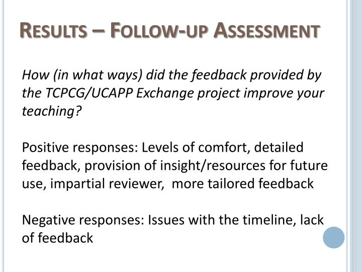 Results – Follow-up Assessment