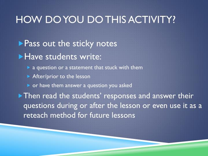 How do you do this activity?
