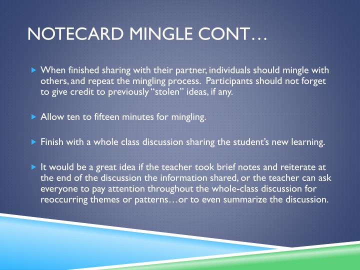 Notecard mingle