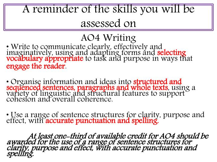 A reminder of the skills you will be assessed on