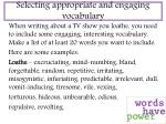selecting appropriate and engaging vocabulary
